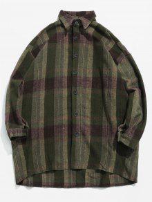 قميص الصوف منقوشة نمط الدفء - الجيش الأخضر Xl