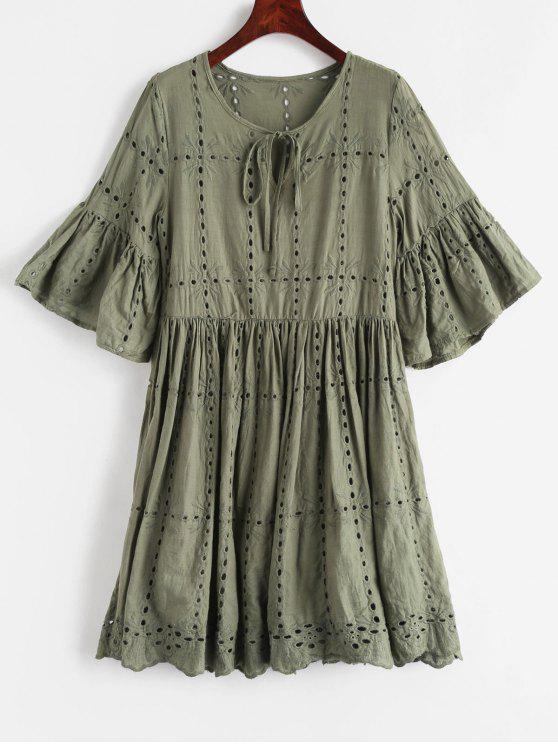 Broderie Anglaise Blusa Vestido - Verde de Camuflagem L