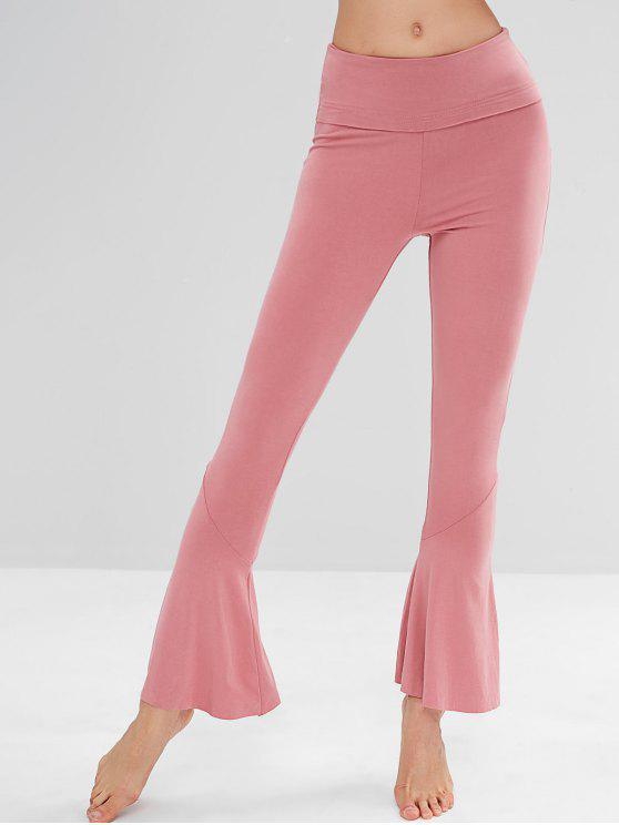 affordable High Waisted Flare Yoga Pants - WATERMELON PINK S