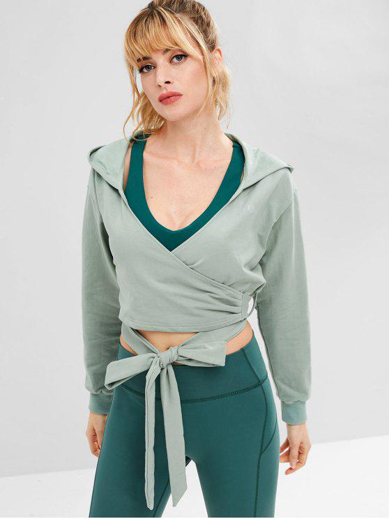 women ZAFUL Drop Shoulder Wrap Short Hoodie - BLUE GREEN M