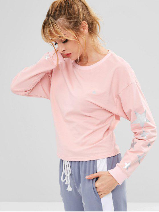 ZAFUL Drop Shoulder Star Sweatshirt - Rosa Claro S