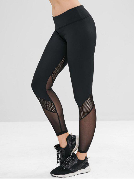 womens ZAFUL Perforated Mesh Panel Sports Leggings - BLACK L
