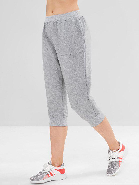 lady ZAFUL Heather Pocket Crop Jogger Pants - GRAY CLOUD S