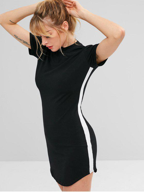 women's Contrast Side Short Athletic Dress - BLACK S