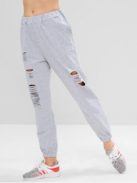 chic Destroyed Athletic Jogger Sweat Pants - LIGHT GRAY S