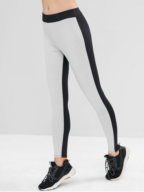 affordable High Waisted Two Tone Gym Leggings - MULTI L