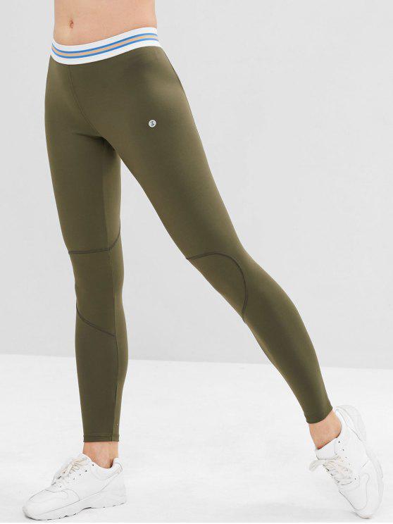 Zaful leggings de esportes de costura listrado - Verde M