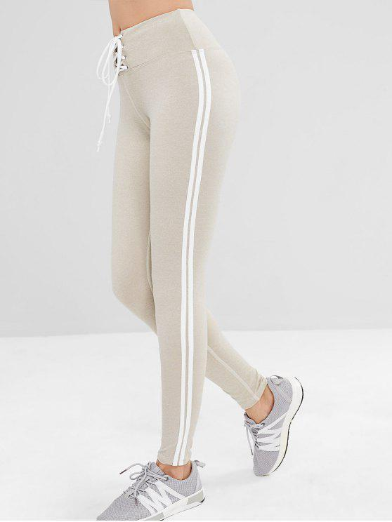 new ZAFUL Lace Up Stripe Side Sports Leggings - PLATINUM S