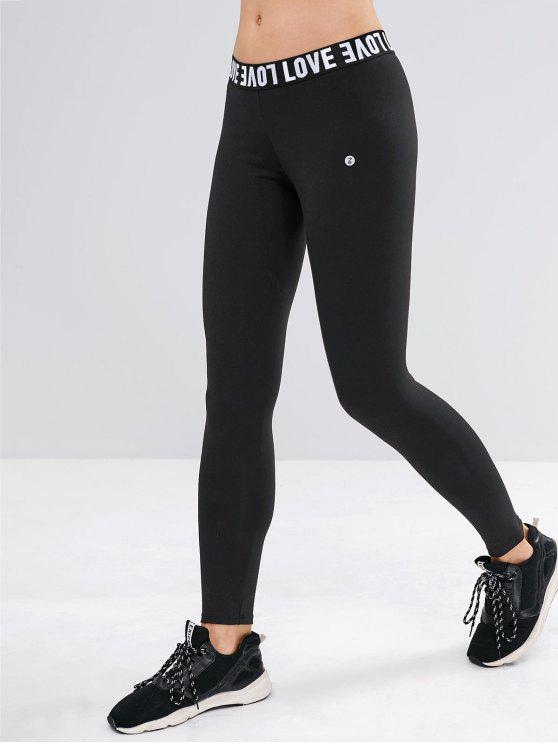 fashion ZAFUL Graphic Letter High Waisted Sports Leggings - BLACK S