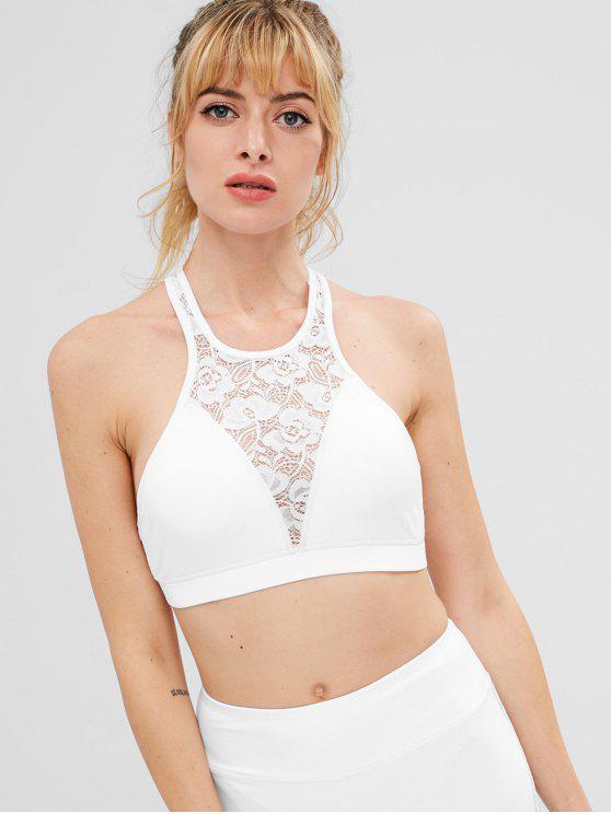 fashion ZAFUL Floral Lace Bralette Sports Bra - WHITE S