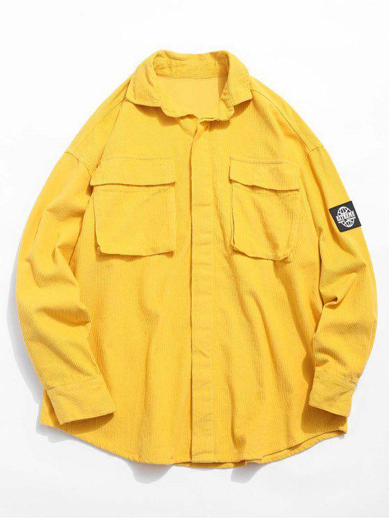 جرافيك التصحيح جيب قميص قصير - الأصفر M