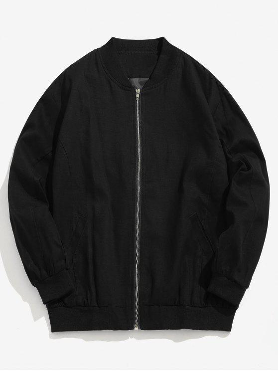 trendy Round Graphic Patchwork Bomber Jacket - BLACK XL