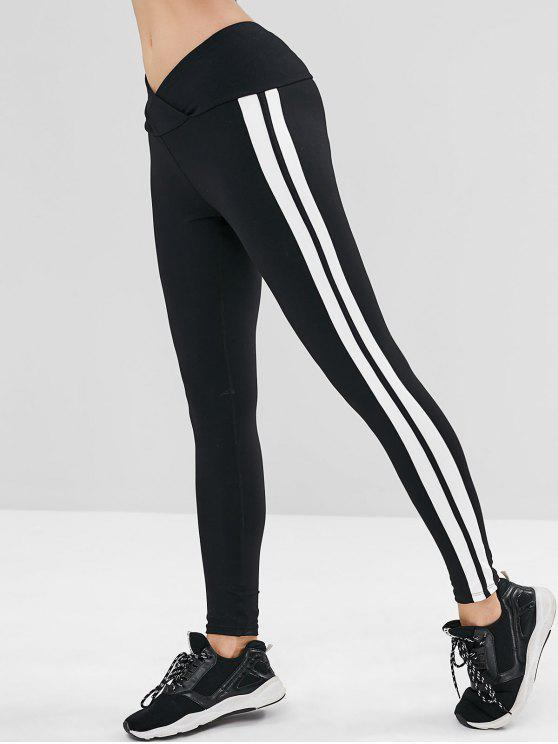ladies Tulip Waist Striped Sports Leggings - BLACK S