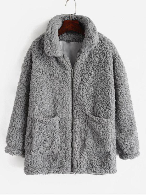 HOT  2019 Fluffy Faux Fur Winter Teddy Coat In LIGHT GRAY L   ZAFUL db0505abd3