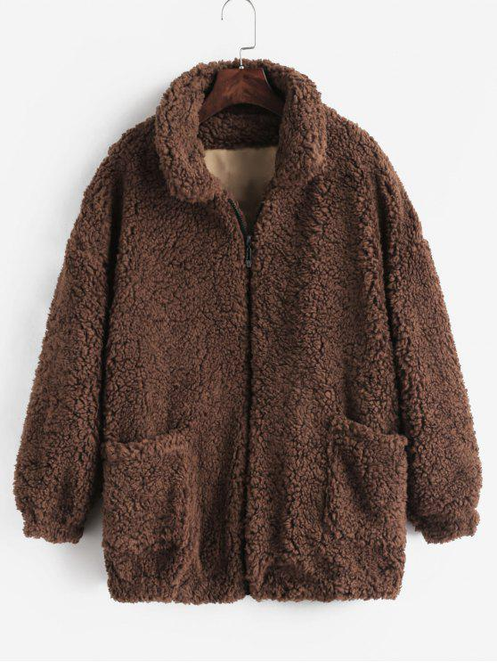 womens Fluffy Faux Fur Winter Coat - COFFEE S