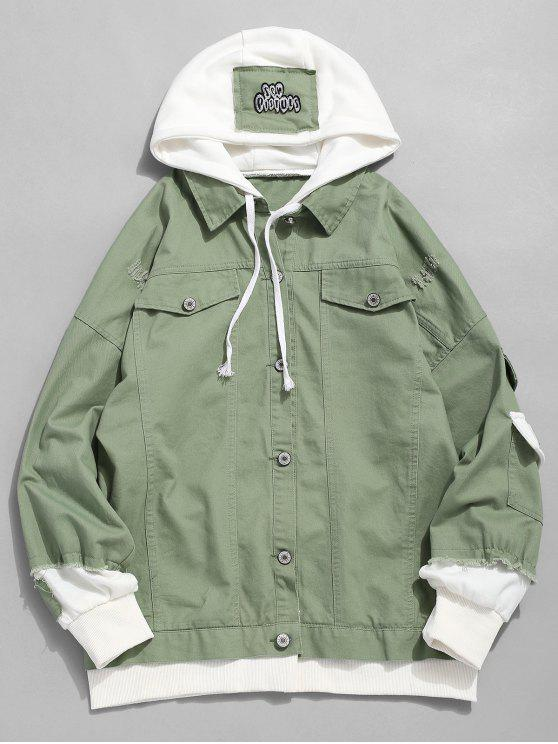 fashion False Two Piece Ripped Design Hooded Jacket - DARK SEA GREEN M