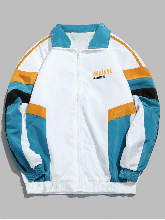 ladies Zip Fly Spliced Color Hip Hop Jacket - WHITE 2XL