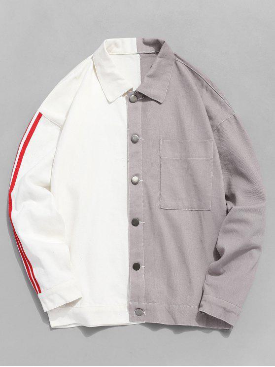 shop Two Tone Cat Graphic Stripe Trim Denim Jacket - WHITE L