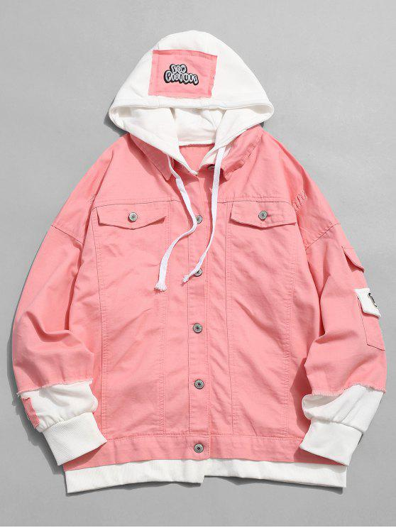 chic False Two Piece Ripped Design Hooded Jacket - FLAMINGO PINK M