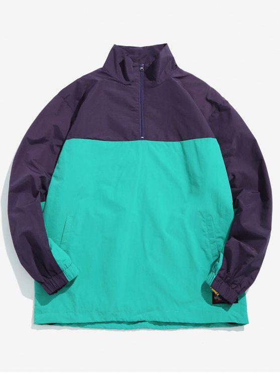 buy Color Block Embellish Pullover Lightweight Jacket - LIGHT AQUAMARINE S