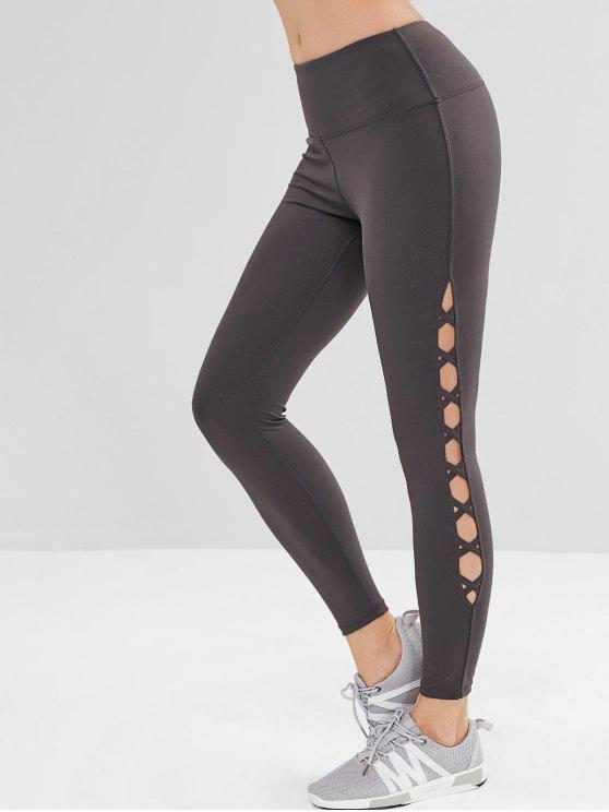 women's Criss Cross Wide Waistband Sports Leggings - JET GRAY L