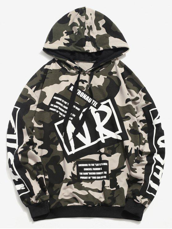 women's Letter Graphic Camo Hoodie - CAMOUFLAGE GREEN L
