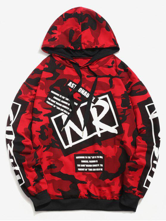 hot Letter Graphic Camo Hoodie - LAVA RED M