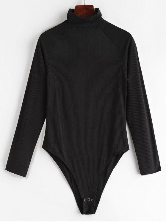 ZAFUL Keyhole Ribbed Bodysuit - Negro L