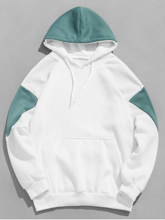 fashion Patchwork Kanga Pocket Drawstring Hoodie - MEDIUM TURQUOISE S