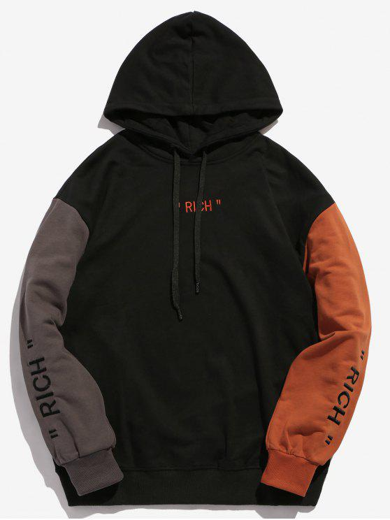 latest Embroidery Letter Contrasting Hoodie - BLACK S