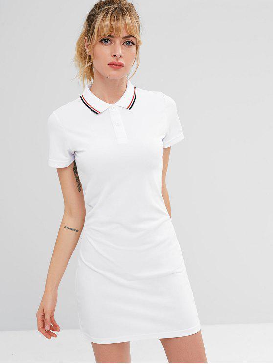 fancy ZAFUL Polo Collar Mini Athletic Dress - WHITE M