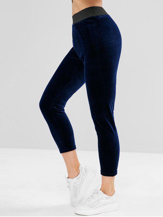 shop ZAFUL Velvet High Waist Sweatpants - MIDNIGHT BLUE M