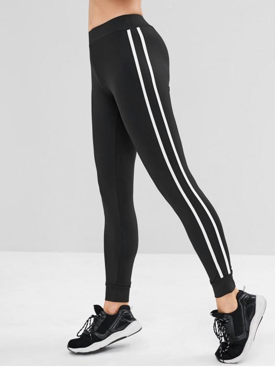 women's Contrast Side Sports Gym Jogger Pants - BLACK S