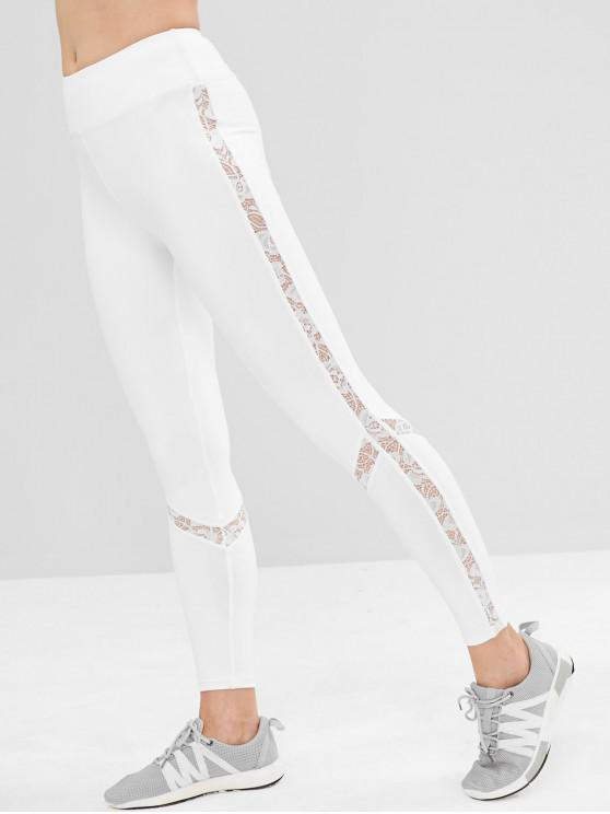 affordable ZAFUL Lace Insert High Waisted Sports Leggings - WHITE L