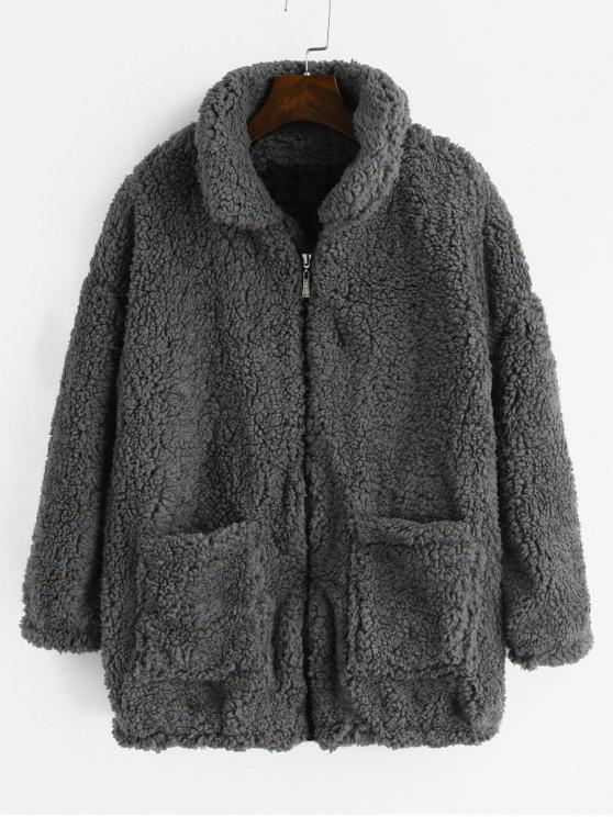 2b70be08938 44% OFF] 2019 Fluffy Faux Fur Winter Teddy Coat In GRAY | ZAFUL