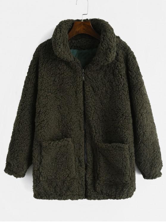 unique Fluffy Faux Fur Winter Teddy Coat - ARMY GREEN S