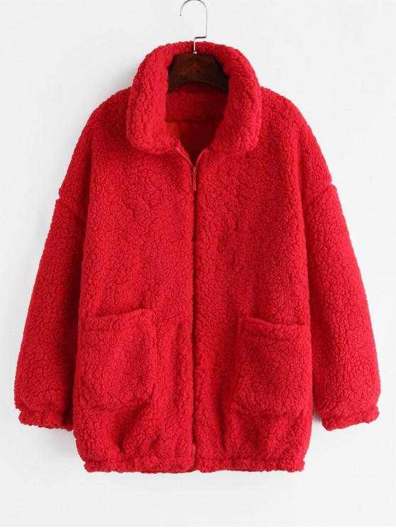 lady Fluffy Faux Fur Winter Teddy Coat - RED L