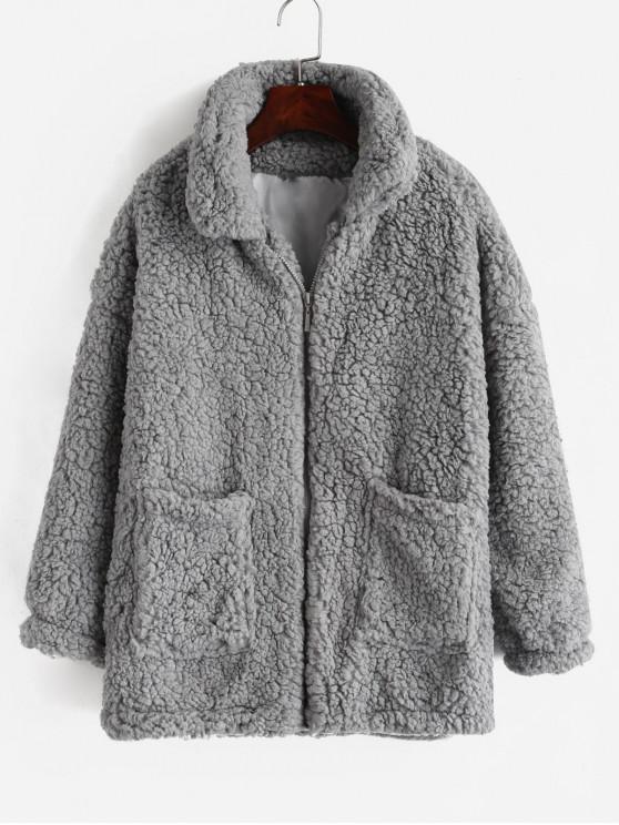 Abrigo de peluche de invierno de piel sintética - Gris Claro M