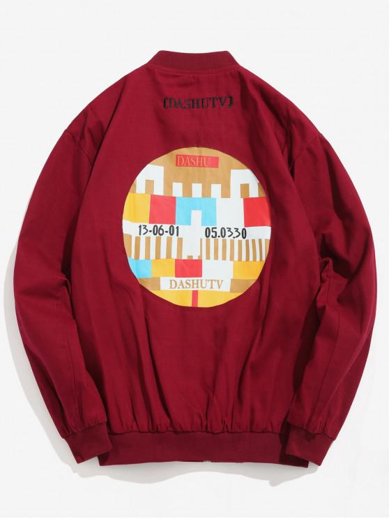 womens Round Graphic Patchwork Bomber Jacket - RED WINE 2XL