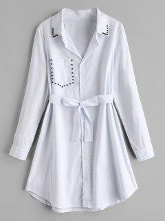 Long Sleeve Beaded Shirt Dress - White L
