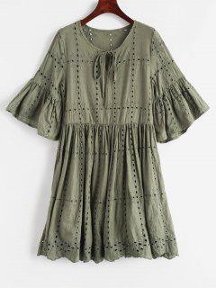 Robe Anglaise Brodée Plissée - Vert Camouflage L
