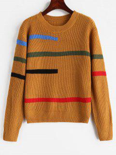 Colorful Irregular Stripe Jumper - Brown