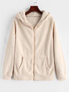 Zip Up Fleece Hoodie - Blanc Chaud 2xl