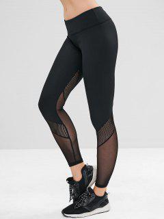 ZAFUL Perforated Mesh Panel Sports Leggings - Black L