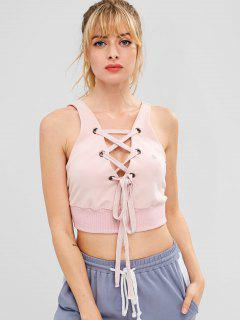 ZAFUL Lace Up Crop Tank Top - Pink M