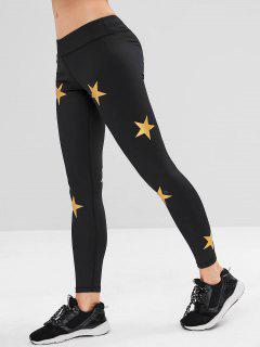 ZAFUL Star Print Skinny Sports Leggings - Black M