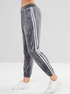 Pantalon De Jogging Doux à Côté Contrasté En Velours - Gris L