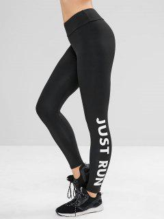 Letter Print High Waisted Yoga Leggings - Black L