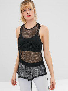 Racerback Fishnet Sports Tank Top - Black L