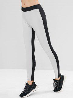 High Waisted Two Tone Gym Leggings - Multi S